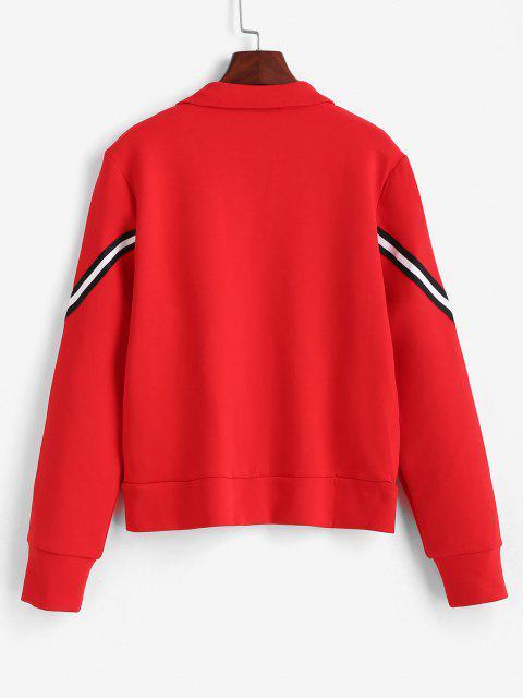 ZAFUL Gestreifte Reißverschluss Taschen Jacke - Rot S Mobile