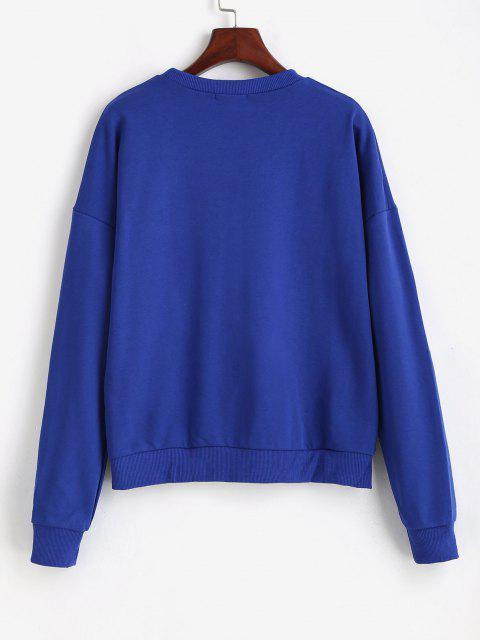ZAFUL Stern Hängender Schulter Sweatshirt - Blau M Mobile