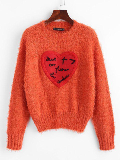 ZAFUL Herz Gepatchte Lose Flauschige Pullover - Orange Eine Größe Mobile