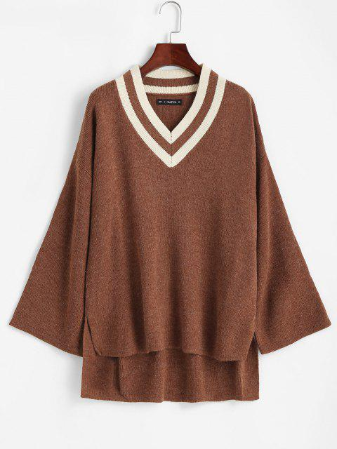 buy Slit High Low V Neck Sweater - BROWN ONE SIZE Mobile