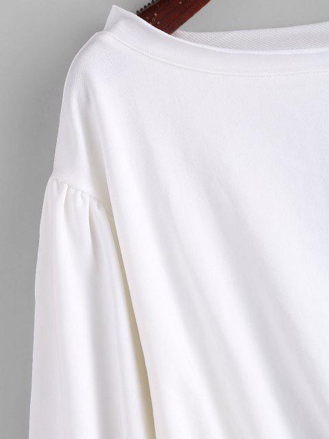 womens ZAFUL Drop Shoulder Slash Neck Sweatshirt - MILK WHITE M Mobile