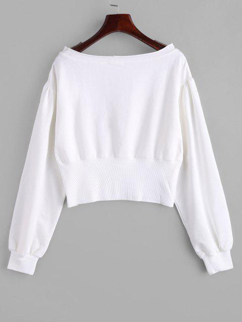 women ZAFUL Drop Shoulder Slash Neck Sweatshirt - MILK WHITE S Mobile