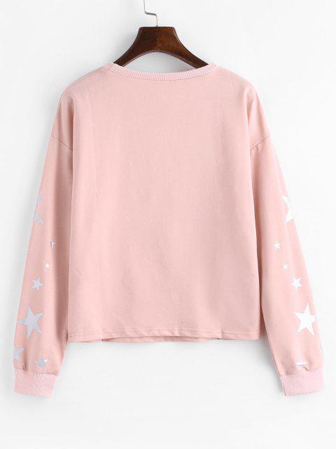 chic ZAFUL Drop Shoulder Star Sweatshirt - LIGHT PINK L Mobile