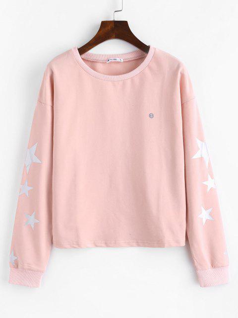 ZAFUL Hängender Schulter Stern Sweatshirt - Hell-Pink S Mobile