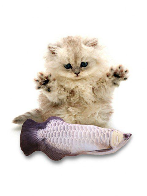 trendy Electric Fish Jumping Pet Plush Cat Toy - SILVER  Mobile