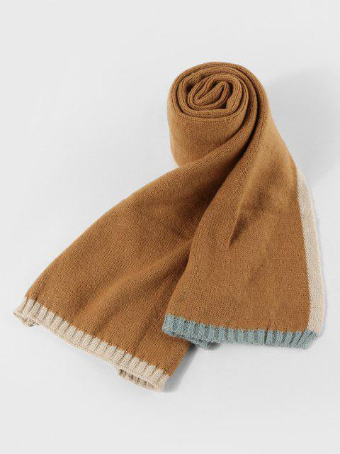 best Winter Colorblock Knitted Scarf - BEE YELLOW  Mobile