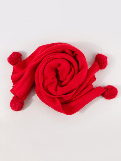 new Knitted Faux Cashmere Pom Pom Scarf - LAVA RED  Mobile