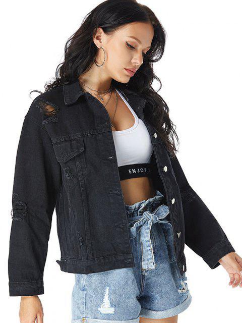 Veste en Denim Déchirée à Goutte Epaule avec Poche Poitrine - Noir XS Mobile