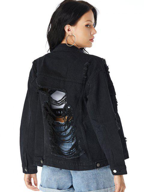 affordable Distressed Drop Shoulder Chest Pocket Denim Jacket - BLACK S Mobile