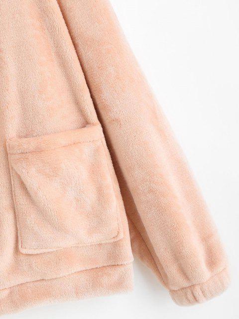 Flauschige Reißverschluss Taschen Jacke - Hell-Pink S Mobile