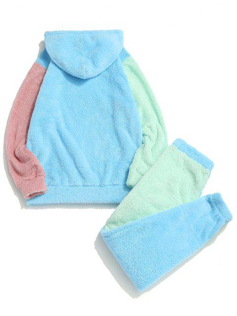 sale Colorblock Panel Fluffy Hoodie And Pants Two Piece Set - LIGHT BLUE S Mobile