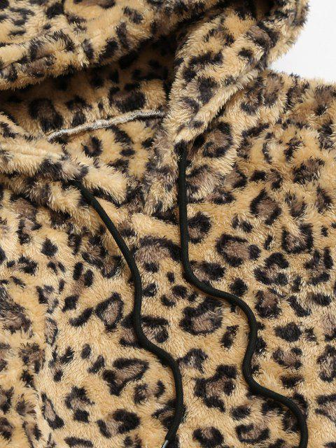 fancy ZAFUL Leopard Pattern Applique Fluffy Hoodie - DEEP YELLOW XS Mobile