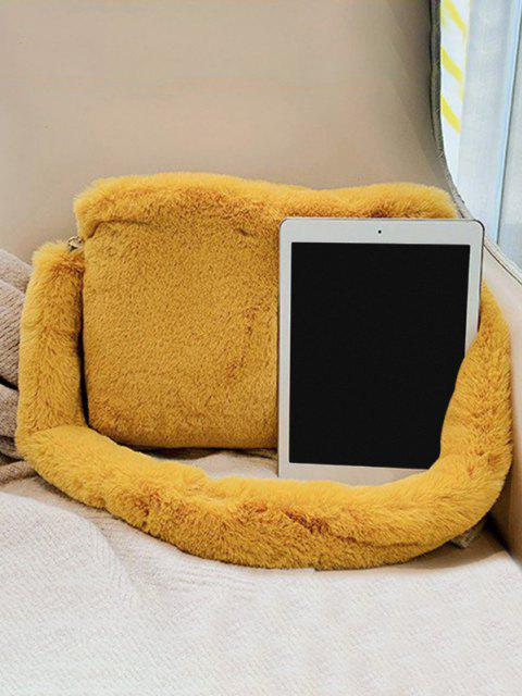 outfits Faux Fur Rectangle Crossbody Bag - YELLOW  Mobile
