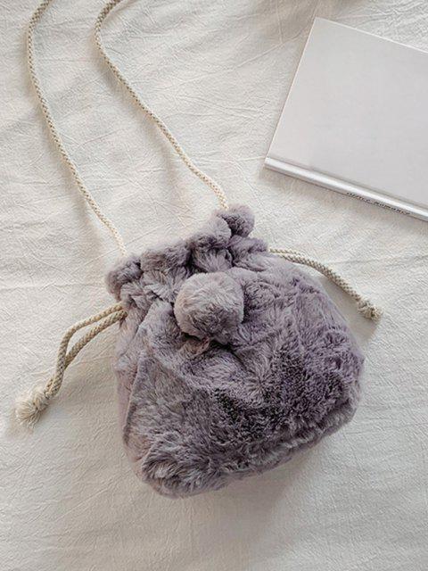 latest Faux Fur Ball Drawstring Crossbody Bag - DARK GRAY  Mobile