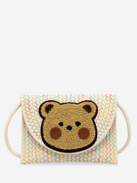 Bear Pattern Woven Crossbody Bag - أبيض  Mobile
