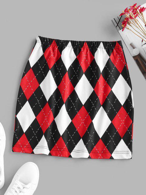 fancy ZAFUL Argyle Mini Elastic Waist Skirt - MULTI XL Mobile