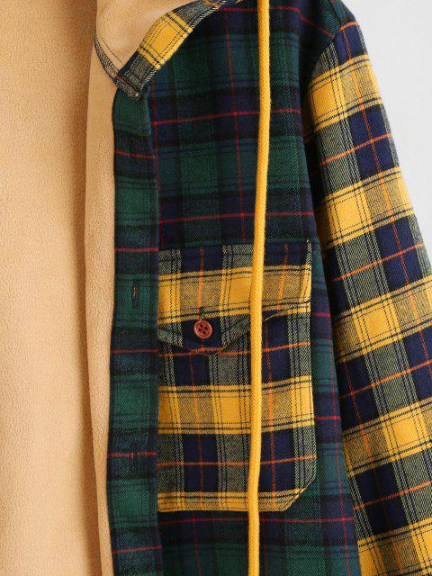 womens Colorblock Plaid Patchwork Fleece Hooded Shirt Jacket - MULTI L Mobile