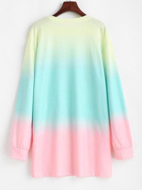 women Ombre Dip Dye Oversized Tunic Boyfriend Sweatshirt - MULTI S Mobile