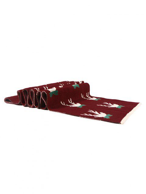 lady Christmas Colorblock Knitted Long Scarf - RED WINE  Mobile