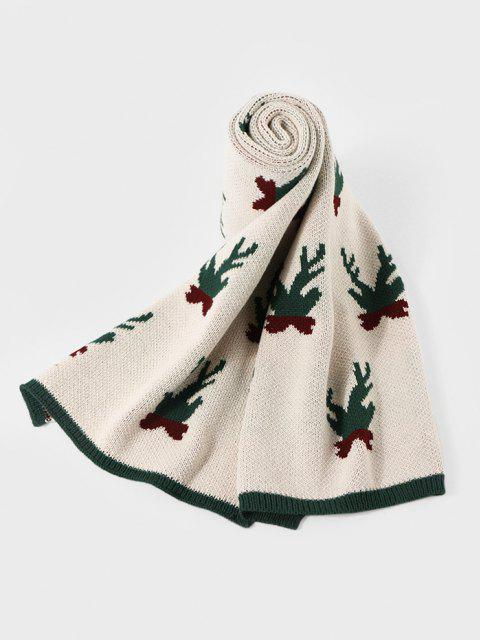 best Christmas Colorblock Knitted Long Scarf - BEIGE  Mobile