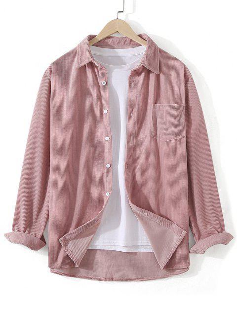 fancy Front Pocket Solid Corduroy Shirt - PINK 2XL Mobile