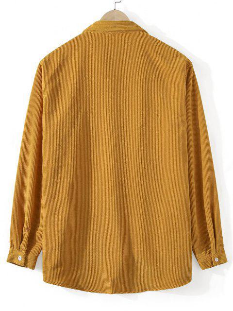 best Front Pocket Solid Corduroy Shirt - GOLDEN BROWN 2XL Mobile
