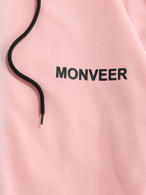 online ZAFUL Letters Print Drawstring Contrast Hoodie - LIGHT PINK S Mobile
