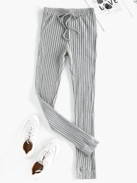 outfits ZAFUL High Rise Knitted Pants - BATTLESHIP GRAY L Mobile
