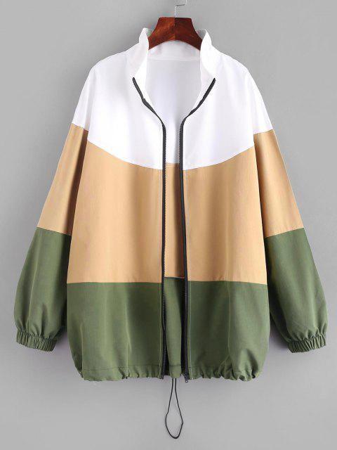 affordable Cut and Sew Zip Up Jacket - MULTI XL Mobile
