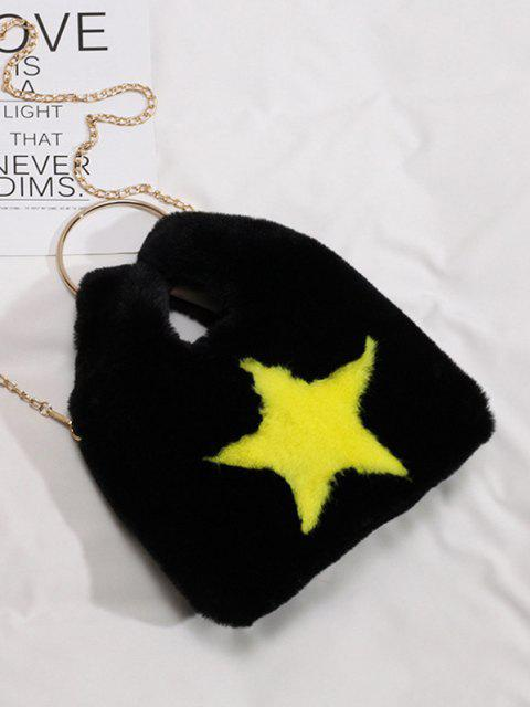 trendy Star Pattern Faux Fur Crossbody Bag - BLACK  Mobile