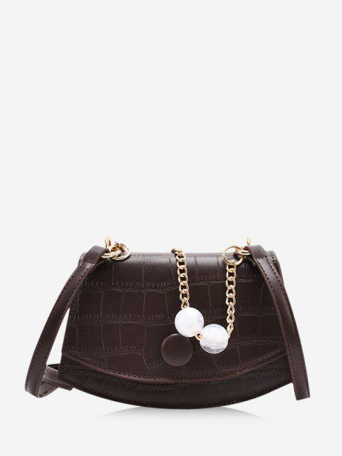 Cover Chain Beads Crossbody Bag - قهوة  Mobile