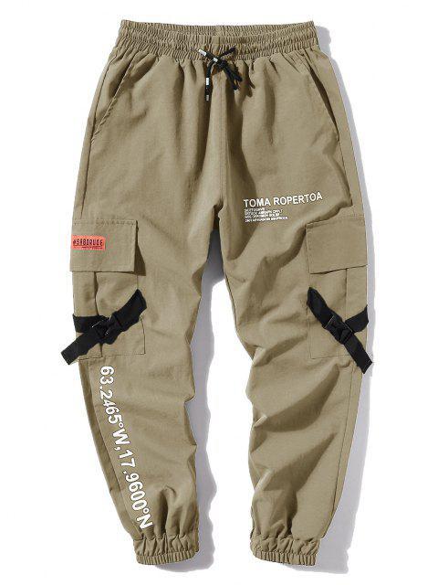 Jogger Pantalones de Estampado de Letras y Bolsillos - Caqui Claro L Mobile