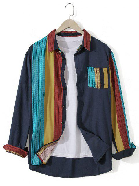 women's Striped Chest Pocket Long Sleeve Casual Shirt - DARK SLATE BLUE L Mobile
