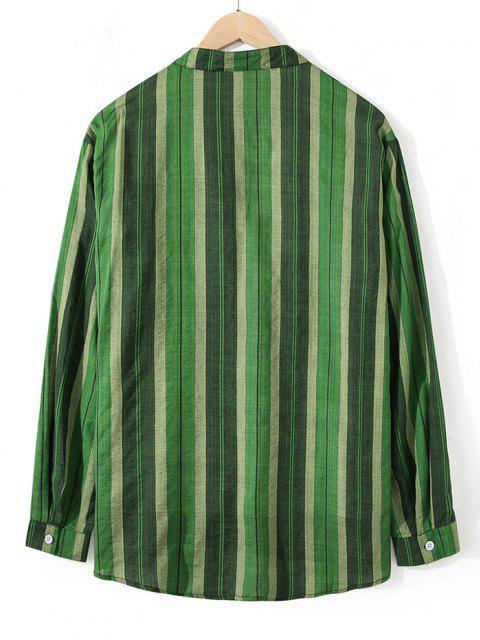 ladies Striped Stand Collar Button Through Shirt - SHAMROCK GREEN M Mobile