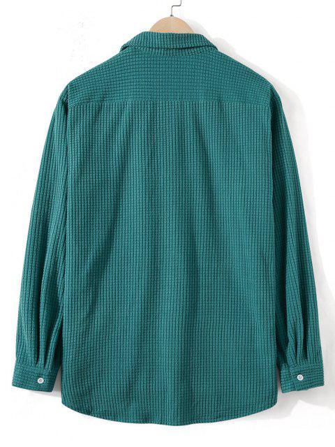 Chemise Simple Boutonnée en Laine - Turquoise Foncée 2XL Mobile