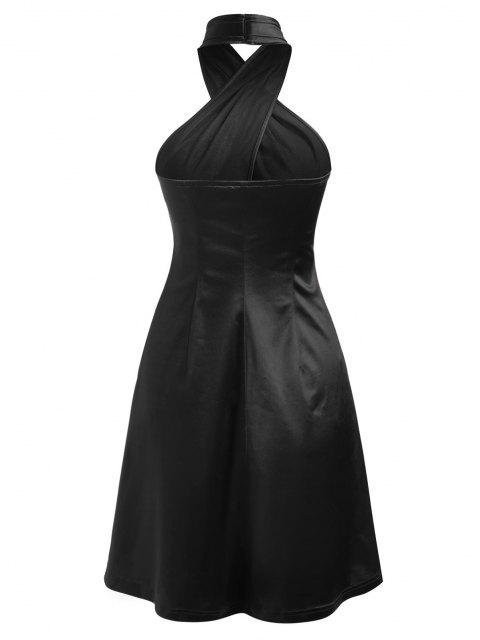 trendy ZAFUL Satin Criss Cross Halter Party Dress - BLACK L Mobile