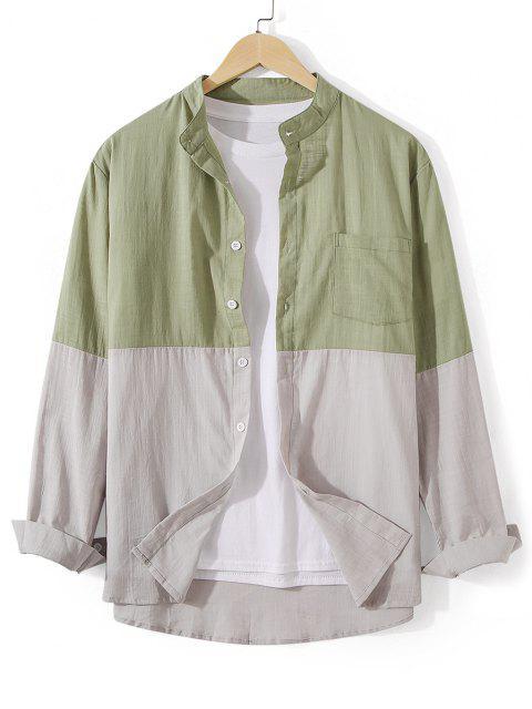 trendy Front Pocket Button Down Two Tone Shirt - DARK SEA GREEN M Mobile
