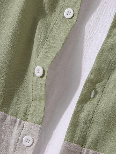 フロントポケットボタンダウン二つのトーンシャツ - ダークシーグリーン 3XL Mobile