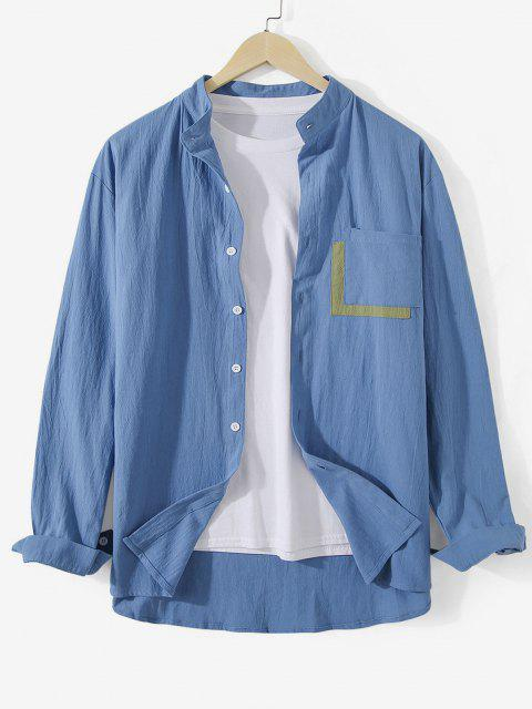 women Colorblock Pocket Stand Collar Shirt - BLUE IVY 2XL Mobile