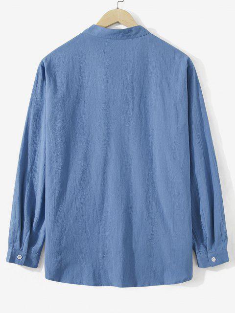 women Colorblock Pocket Stand Collar Shirt - BLUE IVY 2XL Mobile