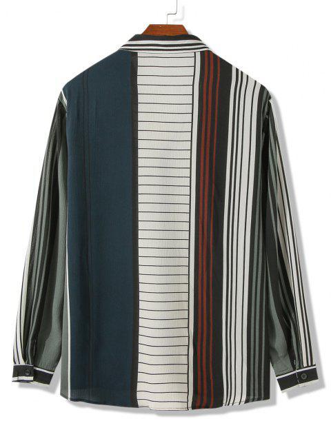 fancy Front Pocket Colorblock Stripes Shirt - DARK FOREST GREEN 2XL Mobile