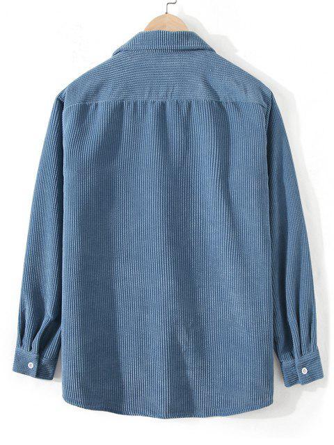 buy Front Pocket Solid Corduroy Shirt - SILK BLUE 3XL Mobile