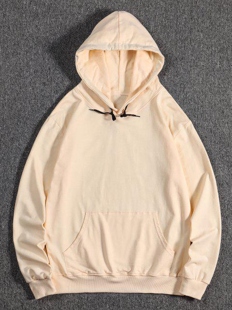 sale Kangaroo Pocket Hanzi Crane Print Oriental Hoodie - CHAMPAGNE M Mobile