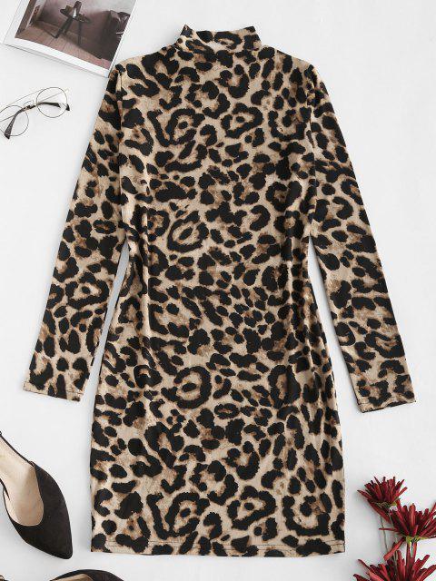 women's Leopard High Neck Bodycon Mini Dress - COFFEE L Mobile