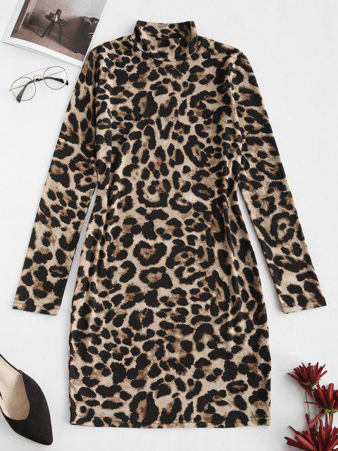 Mini Vestido Ceñido de Cuello Alto de Leopardo - café S Mobile