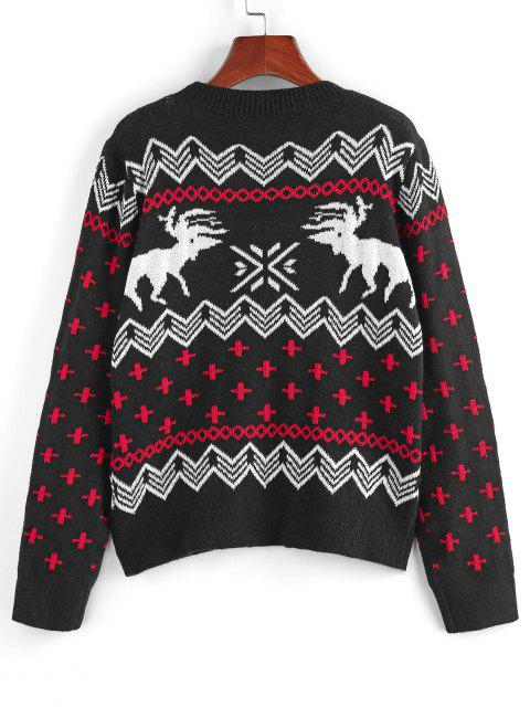 fancy ZAFUL Fair Isle Knit Ribbed Trim Jumper Sweater - BLACK S Mobile