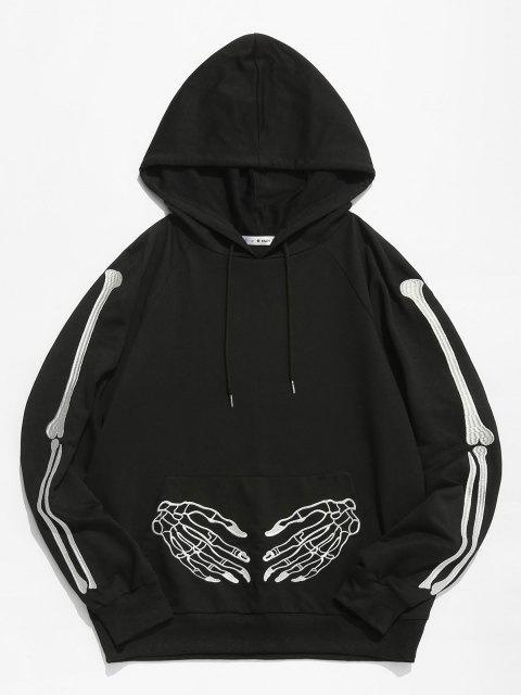 shops ZAFUL Halloween Skeleton Embroidered Front Pocket Hoodie - BLACK XL Mobile