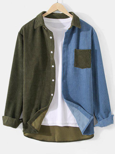 affordable Corduroy Colorblock Pocket Shirt - ARMY GREEN 2XL Mobile