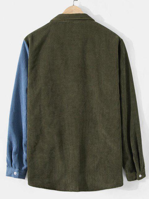 lady Corduroy Colorblock Pocket Shirt - ARMY GREEN XL Mobile