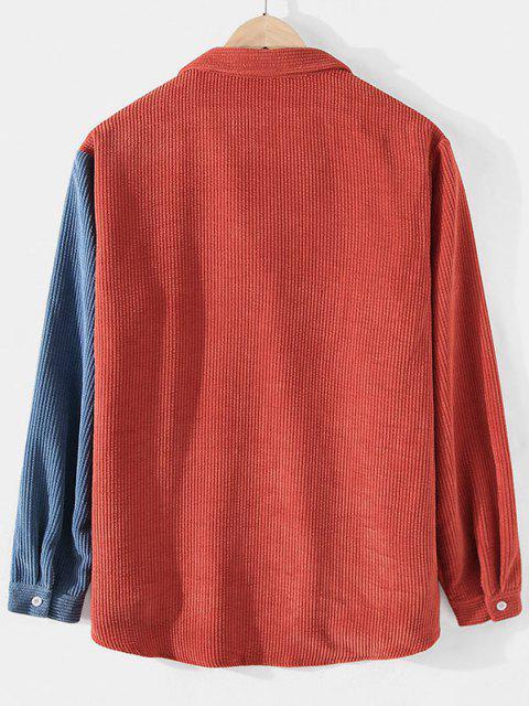 outfit Corduroy Colorblock Pocket Shirt - SILK BLUE XL Mobile